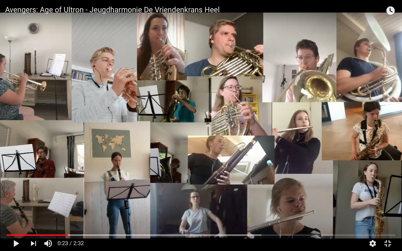 Unieke opname: muzikanten jeugdharmonie spelen 'samen' vanuit huis! - Harmonie de Vriendenkrans